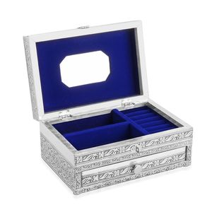 Two Tier Oxidized Jewellery Box with Tiger Embossed on Top (9x6 in)