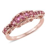 Morro Redondo Pink Tourmaline 14K RG Over Sterling Silver Ring (Size 10.0) TGW 1.05 cts.