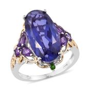 Playa Quartz, Amethyst, Russian Diopside 14K YG and Platinum Over Sterling Silver Ring (Size 6.0) TGW 11.36 cts.
