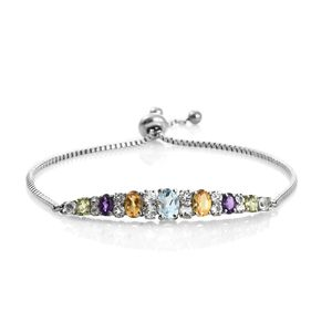 Multi Gemstone Stainless Steel Magic Ball Bar Bracelet (Adjustable) TGW 4.00 cts.