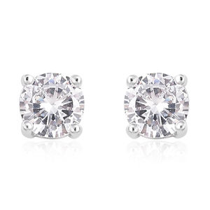 Magnetic Jewelry Simulated White Diamond Silvertone Stud Earrings TGW 2.00 cts.