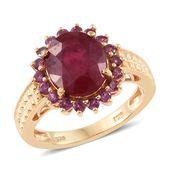 Niassa Ruby, Orissa Rhodolite Garnet 14K YG Over Sterling Silver Ring (Size 10.0) TGW 8.15 cts.