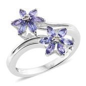 Premium AAA Tanzanite, Diamond Accent Platinum Over Sterling Silver Bypass Flower Ring (Size 10.0) TGW 1.13 cts.