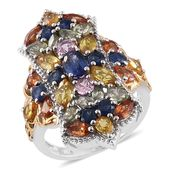 Nitin's Knockdown Deals Multi Sapphire 14K YG and Platinum Over Sterling Silver Cluster Elongated Ring (Size 9.0) TGW 7.35 cts.
