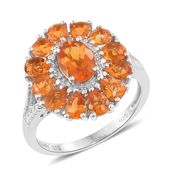 Salamanca Fire Opal Platinum Over Sterling Silver Floral Ring (Size 7.0) TGW 1.70 cts.