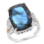 Malagasy Labradorite, White Topaz 14K YG and Platinum Over Sterling Silver Ring (Size 7.0) TGW 18.55 cts.