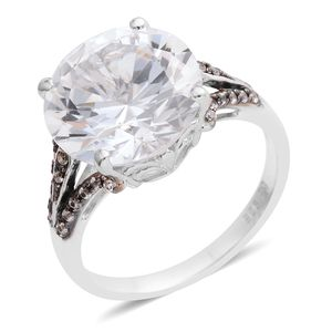 Lab Created White Sapphire Sterling Silver Split Ring (Size 6.5) TGW 8.04 cts.
