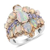 Ethiopian Welo Opal, Tanzanite 14K YG and Platinum Over Sterling Silver Ring (Size 5.0) TGW 4.81 cts.