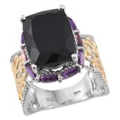 Australian Black Tourmaline, Amethyst 14K YG and Platinum Over Sterling Silver Ring (Size 10.0) TGW 14.80 cts.