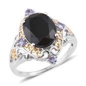 Australian Black Tourmaline, Tanzanite 14K YG and Platinum Over Sterling Silver Ring (Size 10.0) TGW 5.70 cts.