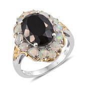 Australian Black Tourmaline, Ethiopian Welo Opal 14K YG and Platinum Over Sterling Silver Ring (Size 7.0) TGW 8.06 cts.