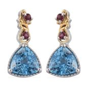 Marambaia Topaz, Orissa Rhodolite Garnet 14K YG and Platinum Over Sterling Silver Earrings TGW 4.78 cts.