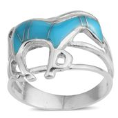Santa Fe Style Kingman Turquoise Sterling Silver Horse Ring (Size 11.5) TGW 2.50 cts.