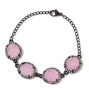 Galilea Rose Quartz ION Plated Black Stainless Steel Station Bracelet (8.00 In) TGW 30.00 cts.