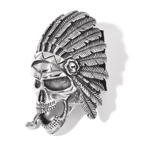 Black Oxidized Stainless Steel Chief Skull Head Belt Buckle