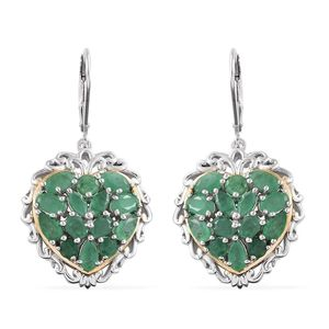 Kagem Zambian Emerald 14K YG and Platinum Over Sterling Silver Cluster Crowned Heart Lever Back Earrings TGW 4.80 cts.