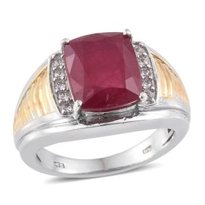 Niassa Ruby, Cambodian Zircon 14K YG and Platinum Over Sterling Silver Ring (Size 7.0) TGW 9.26 cts.