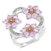 Simulated Pink Diamond, Yellow and White Austrian Crystal Stainless Steel Floral Ring (Size 7.0) TGW 3.03 cts.