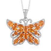 Salamanca Fire Opal Platinum Over Sterling Silver Butterfly Pendant With Chain (20 in) TGW 3.24 cts.