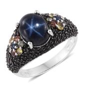 Thai Blue Star Sapphire, Multi Sapphire, Thai Black Spinel Black Rhodium and Platinum Over Sterling Silver Ring (Size 10.0) TGW 8.22 cts.