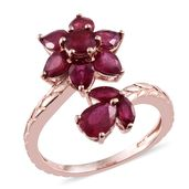 Niassa Ruby 14K RG Over Sterling Silver Engraved Floral Bypass Ring (Size 5.0) TGW 4.90 cts.