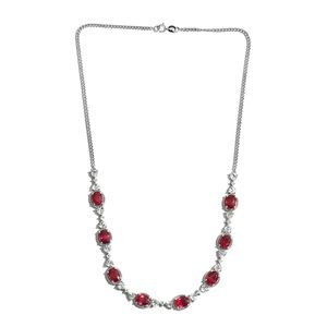 Niassa Ruby, White Topaz Platinum Over Sterling Silver Princess Necklace (18 in) TGW 20.65 cts.