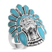 Santa Fe Style Turquoise Sterling Silver Ring (Size 5.5) TGW 3.00 cts.