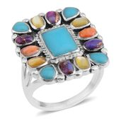 Santa Fe Style Turquoise, Multi Gemstone Sterling Silver Ring (Size 7.5) TGW 0.65 cts.
