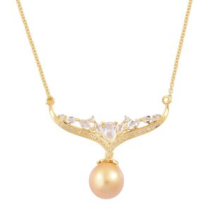 South Sea Golden Pearl (10-11 mm), White Topaz 14K YG Over Sterling Silver Bar Drop Necklace (18 in) TGW 1.33 cts.