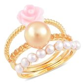 South Sea Golden Pearl, Multi Gemstone 14K YG Over Sterling Silver Set of 3 Ring (Size 7) TGW 3.25 cts.
