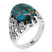 Bali Legacy Collection Mojave Blue Turquoise Sterling Silver Floral Ring (Size 8.0) TGW 9.58 cts.