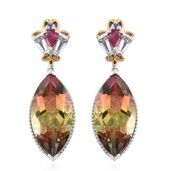 Rainbow Genesis Quartz, Multi Gemstone 14K YG and Platinum Over Sterling Silver Earrings TGW 20.02 cts.
