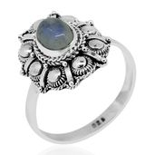 Bali Legacy Collection Sri Lankan Rainbow Moonstone Sterling Silver Ring (Size 9.0) TGW 1.64 cts.