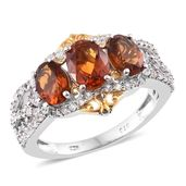 Deepak Dazzling Deals Santa Ana Madeira Citrine, Cambodian Zircon 14K YG and Platinum Over Sterling Silver Ring (Size 10.0) TGW 3.39 cts.