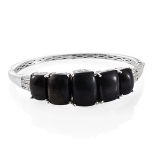 Shungite, Cambodian Zircon Platinum Over Sterling Silver Bangle (7.25 in) TGW 37.87 cts.