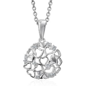 Sterling Silver Pendant With Stainless Steel Chain (20 in) Made with SWAROVSKI White Crystal