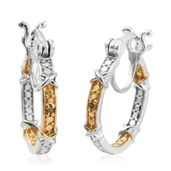 Yellow Diamond (IR) 14K YG and Platinum Over Sterling Silver Hoop Accent Earrings