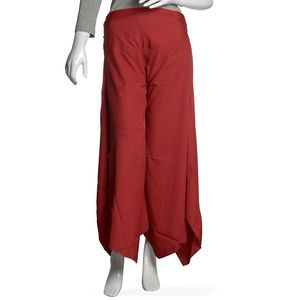Burgundy Woven 100% Polyester Wide Legs Palazzo Pant with Waistband (W:13in, H:20 in, Inseam:21.5in, Outseam: 37 in)