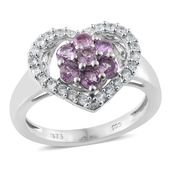 Madagascar Purple Sapphire, Cambodian Zircon Platinum Over Sterling Silver Heart Ring (Size 5.0) TGW 1.48 cts.