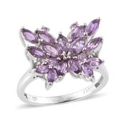 Madagascar Purple Sapphire Platinum Over Sterling Silver Butterfly Ring (Size 7.0) TGW 3.04 cts.