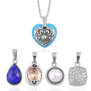 Mega Clearance Set of 5 Multi Gemstone Stainless Steel Pendants With Chain (20 in) TGW 8.10 cts.