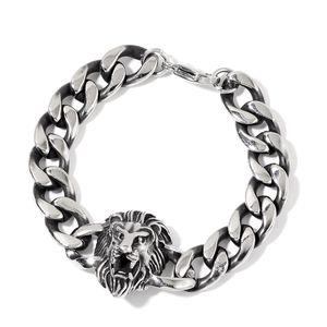 Black Oxidized Stainless Steel Lion Head Bracelet (8.50 In)