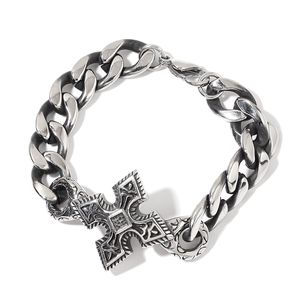 Black Oxidized Stainless Steel Cross Bracelet (8.50 In)