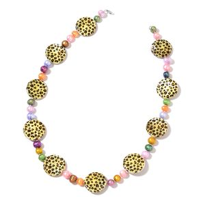 Freshwater Pearl - Multi Color, Leopard Print Shell Sterling Silver Necklace (18 in)