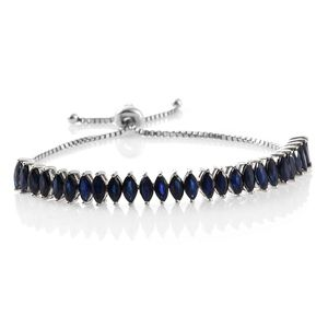 Kanchanaburi Blue Sapphire Platinum Over Sterling Silver Magic Ball Bracelet (Adjustable) TGW 8.15 cts.