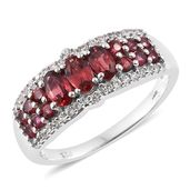 Burmese Red Spinel, Cambodian Zircon Platinum Over Sterling Silver Contemprory Style Ring (Size 7.0) TGW 1.76 cts.
