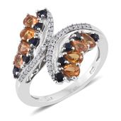 Orange Sapphire, Kanchanaburi Blue Sapphire, Cambodian Zircon Platinum Over Sterling Silver Bypass Ring (Size 7.0) TGW 2.43 cts.