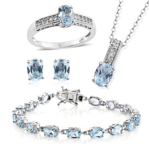 Sky Blue Topaz, Cambodian Zircon Platinum Over Sterling Silver Bracelet (7.50 in), Earrings, Ring (Size 9) and Pendant With Chain (20.00 In) TGW 21.80 cts.