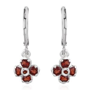 Mozambique Garnet Sterling Silver Floral Earrings with Silvertone Lever Back TGW 1.10 cts.