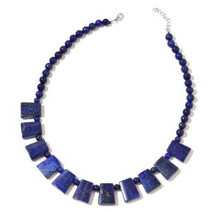 Lapis Lazuli Silvertone Necklace (18 in) TGW 403.50 cts.